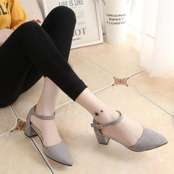 New Women's Summer Sandals High Heels Ankle Straps Velvet SolidCasual Princess Lady's Shoes Pointed Toe Color Grey - intl - 3