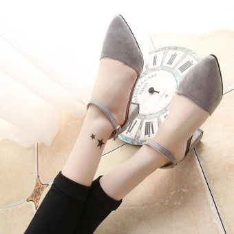 New Women's Summer Sandals High Heels Ankle Straps Velvet SolidCasual Princess Lady's Shoes Pointed Toe Color Grey - intl - 4