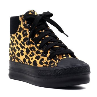 New York Sneakers Yrra High Cut Leopard Shoes (Black/Brown)