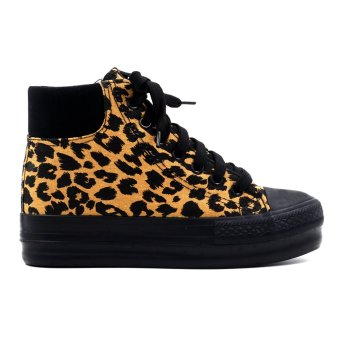 New York Sneakers Yrra High Cut Leopard Shoes (Black/Brown) - 2