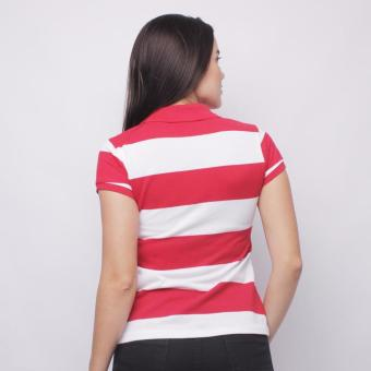 Newyork Army Dual Stripes Color Combi Ladies Polo Shirt - Red/White - 2