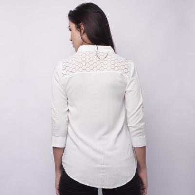 Newyork Army Lace Details Ladies Long Sleeves - White - 2