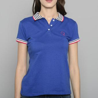 Newyork Army Ladies Stripes Collar Spandex Polo Shirt - Blue