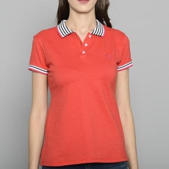 Newyork Army Ladies Stripes Collar Spandex Polo Shirt - Red