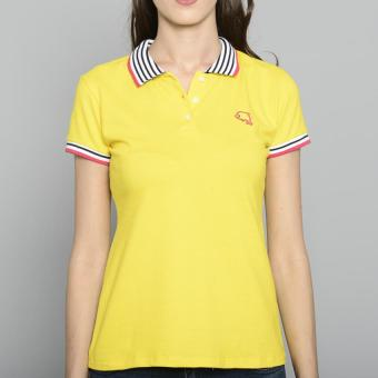 Newyork Army Ladies Stripes Collar Spandex Polo Shirt - Yellow