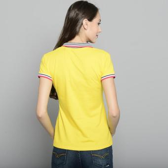 Newyork Army Ladies Stripes Collar Spandex Polo Shirt - Yellow - 3