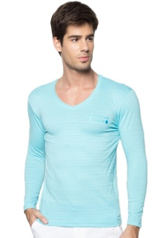 Newyork Army Men's V-neck Long Sleeves (Sky Blue)