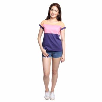 Newyork Army Multicolor Blue, Pink & Orange Mega Sleeves RoundNeck T-Shirt For Ladies - 5