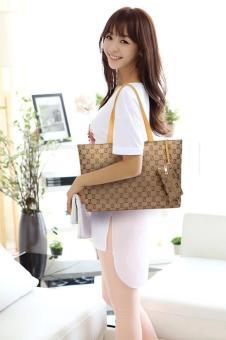 niceEshop Womens Nylon Tote Bag Shoulder Handbag With Zipper For Shopping, Khaki - 3