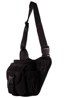 NICK Mens Boys 222 Plain Military Messenger Bag (Black) - 2