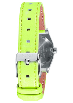 Nixon Small Time Teller Women's Neon Yellow Leather Strap Watch A509-2080 - 2