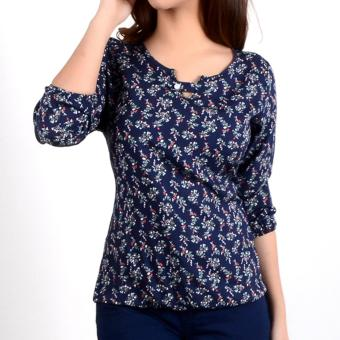 No Apologies Printed Rayon 3/4` Blouse Nft04-0330 (N.Blue)