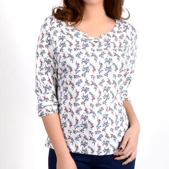 No Apologies Printed Rayon 3/4` Blouse Nft04-0330 (White)