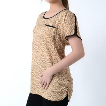 No Apologies Woven Short Sleeves Blouse NFT04-0263 (Brown) - 2