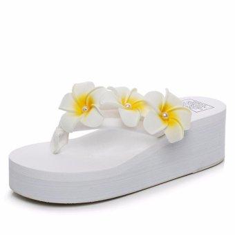 Ocean NEW Ladies fashion flip-flops sandals Flower beachshoes(White) - intl - 2