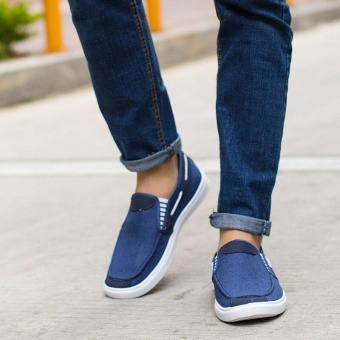 Ocean New Men Fashion Slip On Casual Canvas Sneakers Breathe Shoes(Blue) - intl - 2