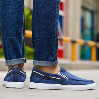 Ocean New Men Fashion Slip On Casual Canvas Sneakers Breathe Shoes(Blue) - intl - 3