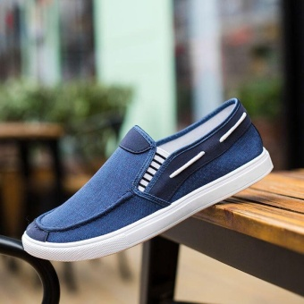 Ocean New Men Fashion Slip On Casual Canvas Sneakers Breathe Shoes(Blue) - intl - 5