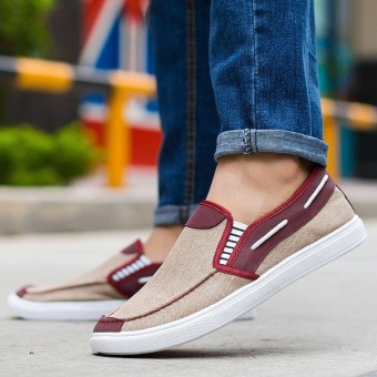 Ocean New Men Fashion Slip On Casual Canvas Sneakers Breathe Shoes(Khaki) - intl