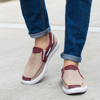 Ocean New Men Fashion Slip On Casual Canvas Sneakers Breathe Shoes(Khaki) - intl - 2