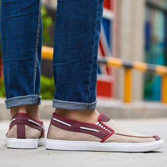 Ocean New Men Fashion Slip On Casual Canvas Sneakers Breathe Shoes(Khaki) - intl - 3