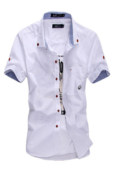 OEM 1903 Men's Shirts Long Sleeve Solid Red Button (White)