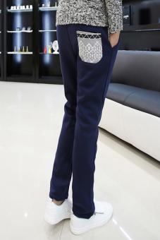 OEM 661 Men's Long Pants Fit Solid Fashion Casual (Dark Blue)
