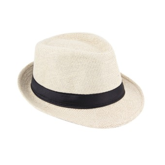 OH Unisex Fedora Trilby Hat Cap Straw Panama Style Packable Travel Sun Hat Beige