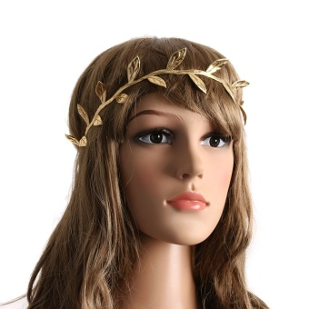 Okdeals Gold Mummy & Infant Toddler Delicate Boho Gold Leaf Headband Goddess Headwear Hair Accessories - intl