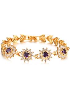 Olen 18K Gold Plated AAA Zircon Sunflowers Bracelet Purple