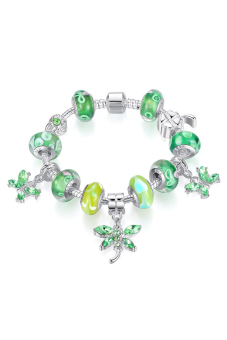 Olen Butterfly Charm Strand Bracelet Bangle with Glass Bead Green - picture 2