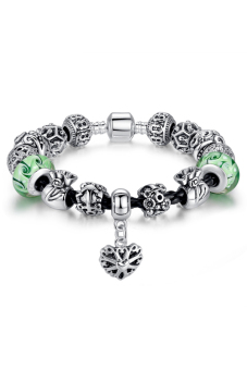 Olen Charm Bracelet and Bangle with Murano Glass Beads Silver/Green