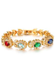 Olen Luxury Gemstone Flower Shaped Bracelet Multicolor - Intl