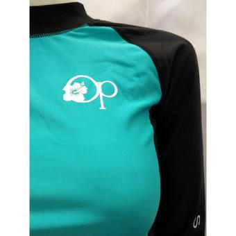 OP FB120 women fashion light green long sleeves rash guard set with black short cycling swimwear - 4