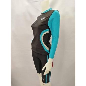 OPJR1602 women fashion light blue long sleeves rash guard set with black short cycling swimwear - 4