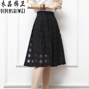 Organza Black Summer plaid half-length skirt high-waisted skirt (Black)