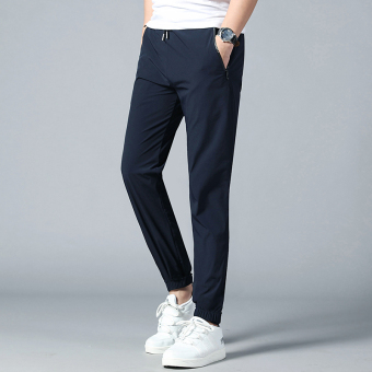 Outdoor Slim fit skinny quick-drying pants athletic pants (17805 dark blue color (nylon single layer thin))