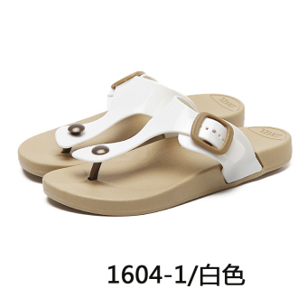 Outerwear thick bottomed sandals flip-flops (Women's + 1604-1 white)