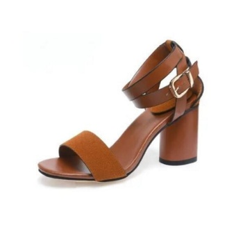 Outlet British high-heeled sandals women's shoes Brown - intl - 4