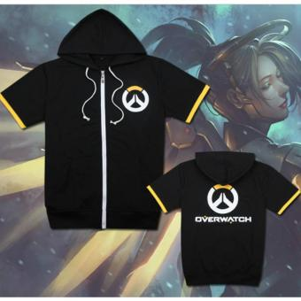 Overwatch Symbol Game Cosplay T-shirt Cotton Tops Casual ShortSleeve Zip Sweater Unisex Shirt (Black)