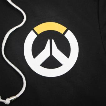 Overwatch Symbol Game Cosplay T-shirt Cotton Tops Casual ShortSleeve Zip Sweater Unisex Shirt (Black) - 5