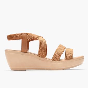 Parisian Basic Ladies Meriam Wedge Sandals (Brown)