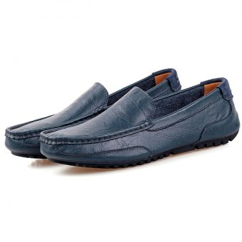 PATHFINDER Men Driving Leather Loafers Shoes Slip Ons (Blue) - 5