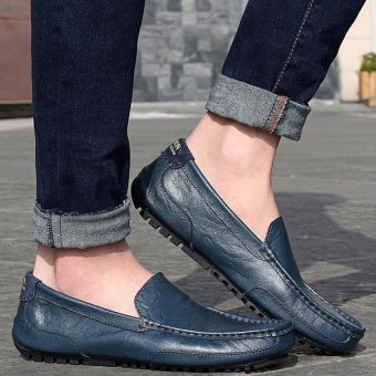 PATHFINDER Men Driving Leather Loafers Shoes Slip Ons (Blue) - 2