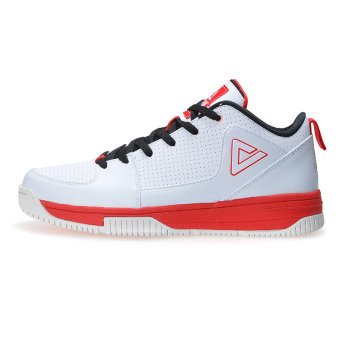 Peak autumn and winter breathable wear non-slip shoes basketball shoes (Big white/red)