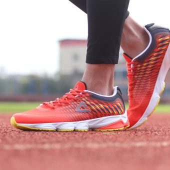 Peak breathable network fall damping surface athletic shoes men's shoes (Orange Hong/Black)