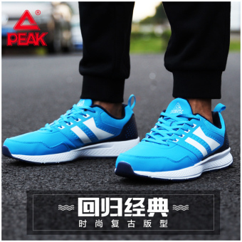 Peak comfortable autumn wear and damping men's shoes running shoes (Crystal blue/Dian Lan)