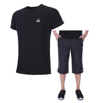 Peak sports casual men breathable short sleeved t-shirt (Black clothing/Black (Capri pants/DF372011)) (Black clothing/Black (Capri pants/DF372011))