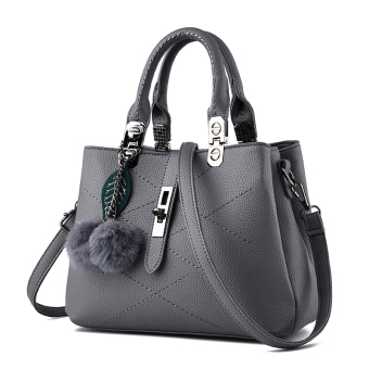PECARSINE European and American embossed leather buckle shoulder women's bag New style women's bag (Dark gray color)