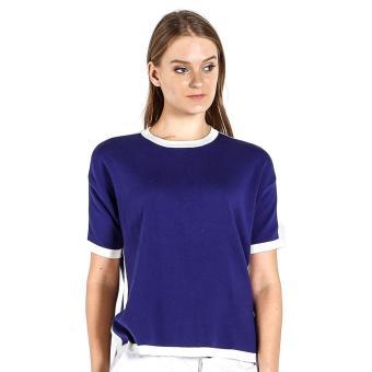 PENSHOPPE Boxy Dolman Contrast Knit Top (Blue)